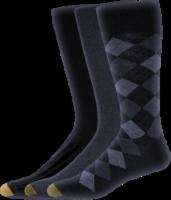 GOLDTOE® Men's Double Argyle Casual Socks - 3 Pack - Navy/Denim/Navy - 10-13
