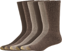 GOLDTOE® Men's Harrington Crew Socks - 6 Pack - Taupe/Khaki/Brown - 10-13