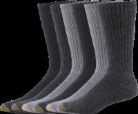 GOLDTOE® Men's Harrington Crew Socks (Extended) - 6 Pack - Gray/Charcoal/Gray