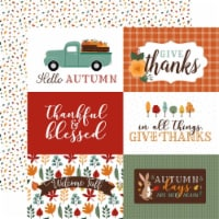 Happy Fall Double-Sided Cardstock 12 X12 -6 X4  Journaling Cards - 1