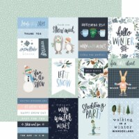 Winter Market Double-Sided Cardstock 12 X12 -3 X4  Journaling Cards - 1