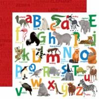 Zoo Adventure Double-Sided Cardstock 12 X12 -Animal Alphabet - 1