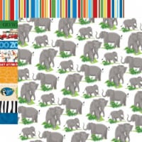Zoo Adventure Double-Sided Cardstock 12 X12 -Elephants - 1