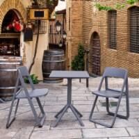 Siesta ISP0791S-DGR-DGR Dream Folding Outdoor Bistro Set with 2 Chairs  Dark Grey - 1