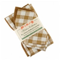 Mr. MJs Trading AG-32294 2 Tea Towels Plus 2 Dish Cloths Set, Toro Beige Check - 1
