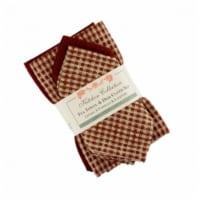 Mr. MJs Trading AG-32295 2 Tea Towels Plus 2 Dish Cloths Set, Berryvine Burgundy - 1