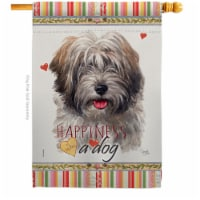 Breeze Decor H110228-BO 28 x 40 in. Dog Tibetan Terrier Happiness Double-Sided Decorative Ver - 1