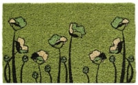 Entryways Green Tulips Coir Doormat - Green/Black