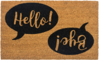 Entryways Hello Bye Non-Slip Coir Doormat - Brown/Black