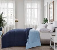 Microfiberr Reversible Down Alternative Comforter - Navy / Light Blue, King - King