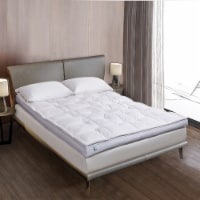 Martha Stewart 233 Thread Count 3 in White Down Top Featherbed - King - King