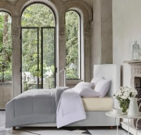 Kathy Ireland Essentials Microfiber Damask Stripe 3 pc Reversible Down Alt Comforter Set - King - King