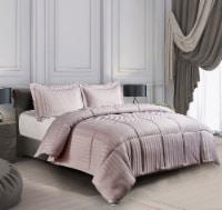 Kathy Ireland Essentials Microfiber Damask Strip 3 pc Reversible Down Alt Comforter Set  - Twin