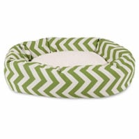 MajesticPet 788995546245 52 in. Zig Zag Sherpa Donut Pet Bed, Sage
