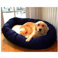 Majestic Pet 788995612421 40 in. Large Bagel Bed- Blue and Sherpa