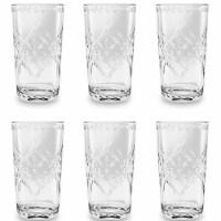 TarHong PSCJM215SCJC 21.5 oz Scroll Cut Jumbo Glass - Clear - Premium Plastic - Set of 6 - 1