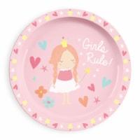 TarHong Girls Rule Rimmed Plate - Pink