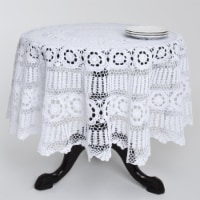 SARO 869.W36R 36 in. Round Handmade Crochet Cotton Lace Table Linens - White - 1