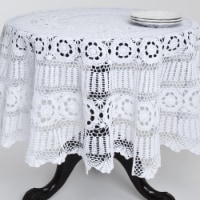 SARO 869.W45R 45 in. Round Handmade Crochet Cotton Lace Table Linens - White - 1