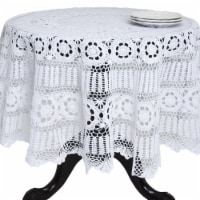 Saro Lifestyle 869.W90R 90 in. Round Handmade Crochet Cotton Lace Table Linens - White - 1