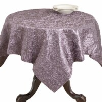 SARO 92010.EG50S 50 in. Square Cord Embroidery Table Linens - Eggplant