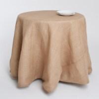 SARO 0811.N120R 120 in. Round Burlap Tablecloth - Natural