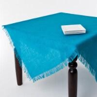 SARO JU209.TQ60S 60 in. Mari Sati Burlap Square Fringed Jute Tablecloth - Turquoise - 1