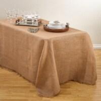 SARO JU209.N90120B 90 x 120 in. Mari Sati Rectangular Fringed Jute Tablecloth - Natural - 1
