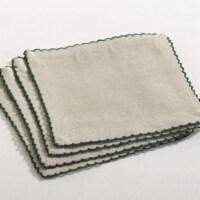 SARO 105.G6S 6 in. Crochet Scalloped Design Table Linens  Green - Set of 4 - 1