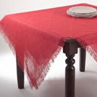 SARO JU209.R60S 60 in. Mari Sati Square Fringed Jute Tablecloth - Red - 1