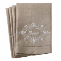 Saro Lifestyle 15068.N1422 14 x 22 in. Embroidered Hemstitch Towel - Natural, Set of 4