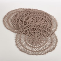 SARO 8005.T15R 15 in. Round Crochet Design Placemat - Taupe  Set of 4