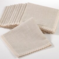 Saro Lifestyle 4100.N20S 20 in. Square Lace Trimmed Dinner Napkin - Natural, Set of 12