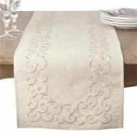 SARO 493.N1672B 16 x 72 in. Rectangular Embroidered Swirl Design Linen Blend Table Runner - N