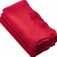 Saro Lifestyle 635.R20S 20 in. Square Melina Ruffled Design Dinner Napkin, Red - Set of 4 - 1