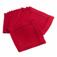 Saro Lifestyle 6301.R6S 6 in. Square Classic Hemstitch Border Cocktail Napkin, Red -Set of 12
