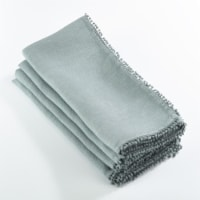 SARO 15062.BG1672B 16 x 72 in. Rectangle Pompom Design Table Runner  Blue Grey