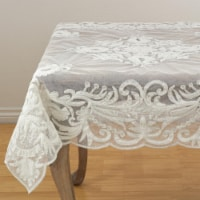 SARO AN02.I54S 54 in. Square Alessandra Beaded Embroidered Scalloped Table Topper  Ivory
