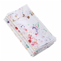 Saro Lifestyle 20 in. Square Primavera Swirled Spectrum Linen Napkin, White - Set of 4