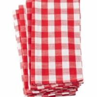 Saro Lifestyle 1029.R2028 20 x 28 in. Gingham Plaid Check Design Cotton Kitchen Towel, Red -