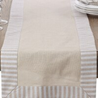 SARO 1746.N1672B 16 x 72 in. Rectangle Stripe Pattern Border Linen Cotton Table Runner  Natur - 1