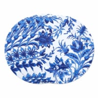 SARO CH016.IN14R 14 in. Round Floral Print Decorative Charger Plate  Indigo - Set of 4