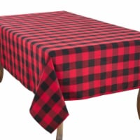 SARO 5026.R70160B 70 x 160 in. Rectangle Buffalo Plaid Design Cotton Blend Tablecloth  Red