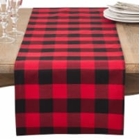 SARO 5026.R1672B 16 x 72 in. Rectangle Buffalo Plaid Check Classic Cotton Blend Table Runner