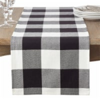 SARO 9025.BK1672B 16 x 72 in. Rectangle Cotton Table Runner with Buffalo Plaid Pattern  Black