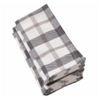 Saro Lifestyle 20 in. Square Yuri Classic Plaid Design Cotton Napkin, Grey - Set of 4