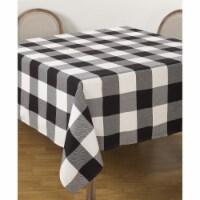 SARO 9025.BK84S 84 in. Square Buffalo Plaid Check Pattern Design Cotton Tablecloth  Black - 1