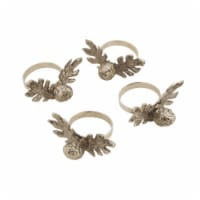 SARO NR706.S Pinecone Design Rustic Style Napkin Ring  Silver - Set of 4