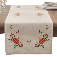SARO 007.N1690B 16 x 90 in. Embroidered Ornament Holly Design Holiday Linen Blend Table Runne