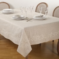 SARO 001.N67104B 67 x 104 in. Embroidered Swirl Design Simple Natural Linen Blend Tablecloth - 1